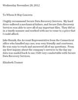Elizabeth Trainer Secure Data Recovery Services Testimonial