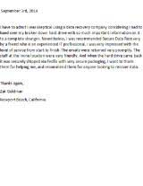 Zak Goldman Secure Data Recovery Services Testimonial