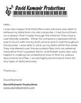 David Kamenir Secure Data Recovery Services Testimonial