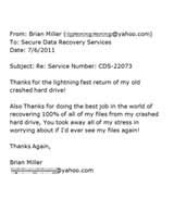 Brian Miller Secure Data Recovery Services Testimonial