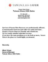 Taiwan Glass USA Sales Secure Data Recovery Services Testimonial